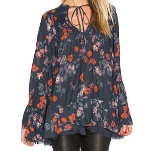 Free People Floral Pebble Crepe Tunic, XS